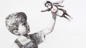 Drawing of young boy with nurse mask toy